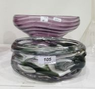 Grey and clear studio glass bowl, circular and shaped and an amethyst wavy-line ribbed bowlwith