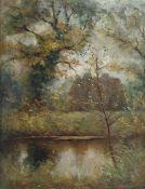 R A Gardner (?) Oil on canvas River landscape, si