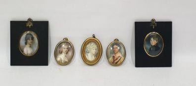 Five various portrait miniature prints