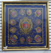 Hermes silk scarf'Les Armes de Paris', royal blue ground, designed 1954 by Hugo Grygkar, the