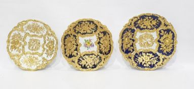 Three various Meissen porcelain gilt decorated sha