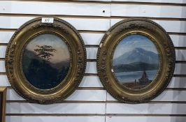 19th century Pair oils on panel Unattributed, continental scenes, oval frames 19 cms high