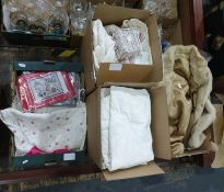 Assorted unused table linen, various cross-stitch