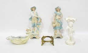 Tall pair tinted bisque figures of a rustic couple, East German Art Nouveau style porcelain receiver