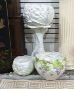 White and gilt decorated jardiniere on stand, the bowl formed as a flower (possibly a hydrangea) and
