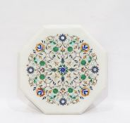 Indian stone inlaid alabaster hexagonal plaque/table top, scroll and stylised floral inlaid with