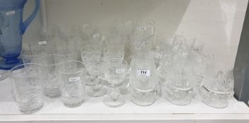 Large quantity of cut drinking glasses, various patterns