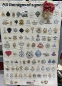 Hanging chartof army badges with numerous examples attached, dated 1981