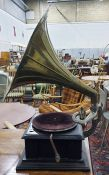 Stained wood 'His Master's Voice' wind-up table-to