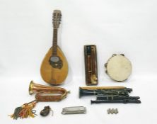 Figured wood bass recorder, clarinetand other musical instruments