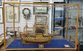 20th century scratch built wooden modelof HMS Victory with medallion inscribed 'HMS Victory