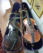 Violinwith single piece back and having carved li