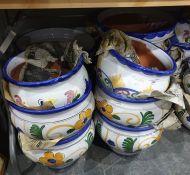 Eleven various ceramic planters