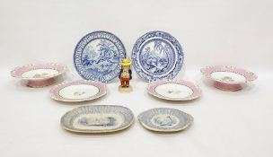 Two Grainger's Worcester low comports and stands, fruit decorated, pink bordered, four various