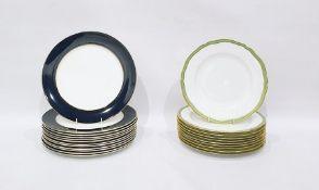 12 Royal Crown Derby porcelain dinner plates 'Cobalt Band' pattern, 30cm diameter and 10 Copeland