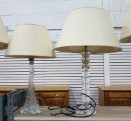 Two glass bodied table lamps, one with a clear gla