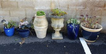 Six assorted garden planters including reconstituted stone urn type and other glazed examples (6)