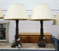 Pair brass table lamps, with turned and moulded columns, square bases