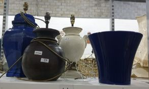 Two various ceramic table lamps and a dark blue Oriental style table lamp with a matching dark