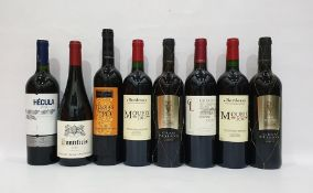 Eight bottles of mixed red wineto include Hecula 2013 Monastrell and Moueix 2010 Bordeaux (8)