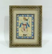 Persian miniature Study of a woman with mandolin, 15cm x 11cm, in inlaid frame