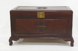 20th century Chinese camphorwood lined chest with carved shou symbol to the top and front, the whole