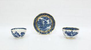 "Caughley ""Birds in Branches"" porcelain tea bowlwith underglaze blue decoration, circa 1785, 'S'"