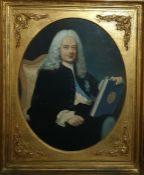 French (18th century style) Watercolour Half-length portrait of bewigged gentleman seated in