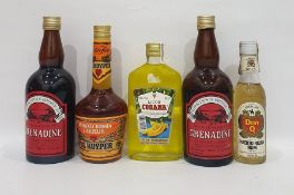 Five bottles of assorted alcoholto include Serralles Don Q Puerta Rican rum, Cobana banana liqueur,