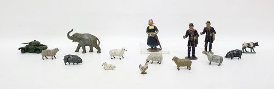 Tray of assorted itemsto include Britains animals, lead figures, Dinky toys armoured car, etc
