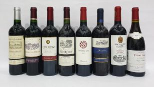 Eight bottles of mixed red wineto include Centauree Minervois 2011 and Pinot Noir D'Autrefois