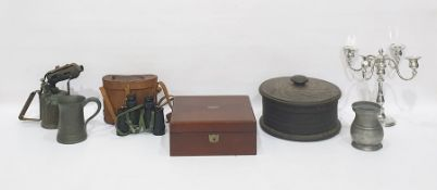 Mahogany writing slope, a vintage blow lamp, two pewter mugs, a pair of cased binoculars, a copper