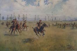 "After Lionel Edwards Colour print ""2 BT DLI V 10th Bt DLI P... Aerodrome 1915 "" , the army"
