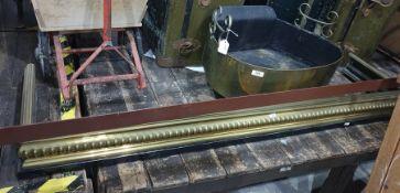 Brass log pan fire basket and brass fender