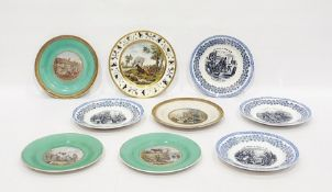 Quantity of 19th century Pratt-type earthenware plates, each with transfer printed roundel to