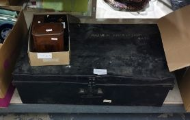 A large metal trunk, an inlaid box and two other boxes ( 4)