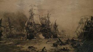W L Wyllie engraving Sea Battle and Wreck......signed in pencil lower left in margin, 43 x 74 cms.