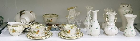 Six various Belleek ivory porcelain vaseswith shamrock decoration,small quantity of Wade porcelain