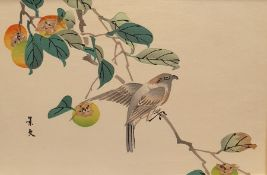20th Century Japanese School Watercolour  Birds on a branch, signed left, together with five further