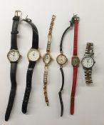 Lady's Bernex gold-coloured wristwatch with rectangular dial and the red leather strap and a