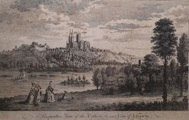 "Engraving "" Perspective View of the Cathedral and City of Lincoln"" engraved for the Complete English"