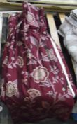 One pair of silk burgandy pattern curtains Condition ReportThe curtains is approx 117 cm long, 91
