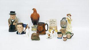 "Royal Doulton pottery character jug ""Winston Churchill"", Royal Doulton peregrine falcon whisky"