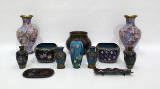 Chinese(?) cloisonne bronze pot, baluster sided and with allover pennants and stylised foliage, 11cm