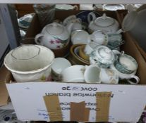 One box of assorted chinato include teacups, teapots, vases, plates, etc.