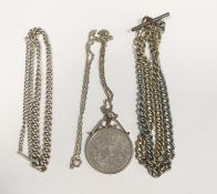 Silver graduated curb link chain, 31 g approx, a 1977 crown in pendant on chain and two other albert