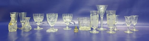 19th century glass rummerwith cup-shaped bowl, ovolo panel cut, antique glass wine rinser, set of