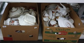 Two boxes of china comprising part-dinner service by Royal Albert of the 'Old Country Roses Cottage'