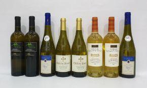 Eight bottles of assorted white wine to include Borgo Thaulero Pecorino Terre di Chieti and Clefs du