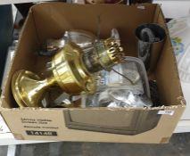 Brass paraffin lamp, assorted flatware, glass shade, etc (1 box)